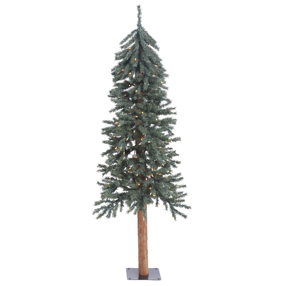 5 Foot Natural Bark Alpine Artificial Christmas Tree - 150 DuraLit LED M5 Italian Warm White Lights