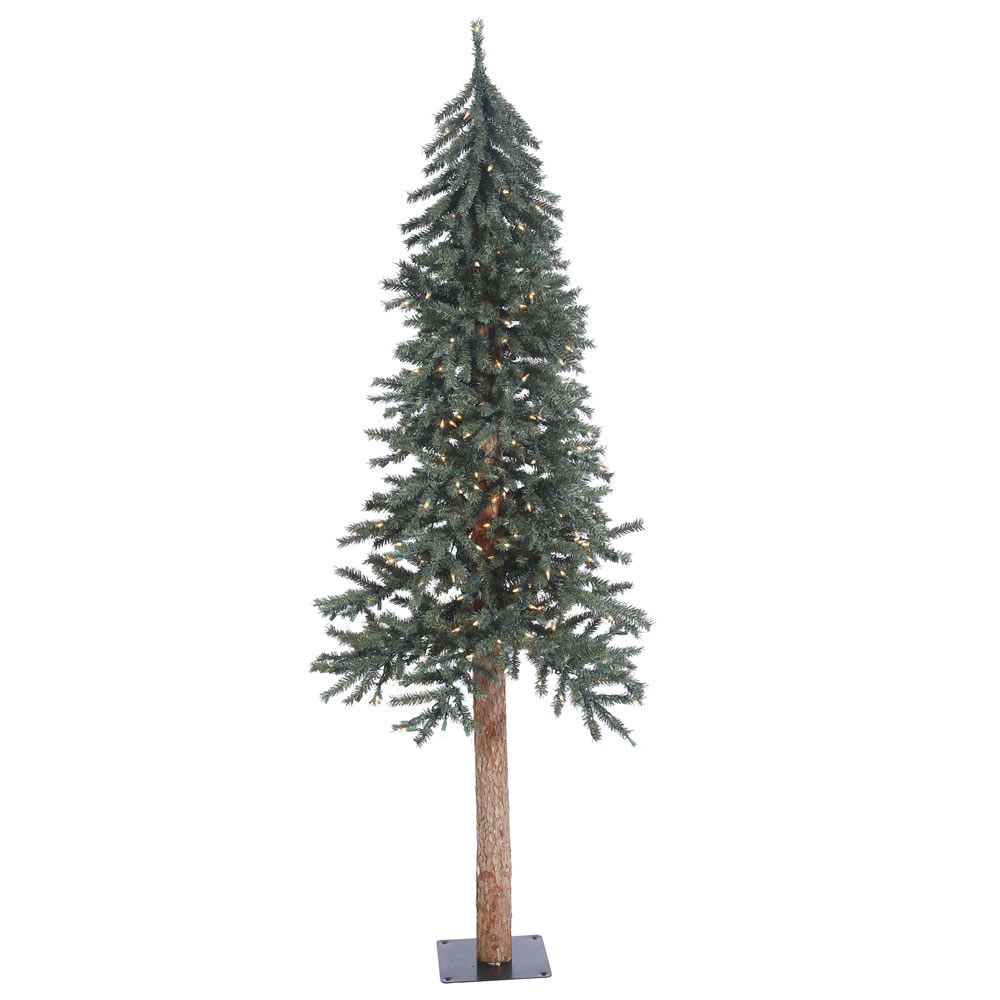 6 Foot Natural Bark Alpine Artificial Christmas Tree - 250 DuraLit Incandescent Clear Mini Lights