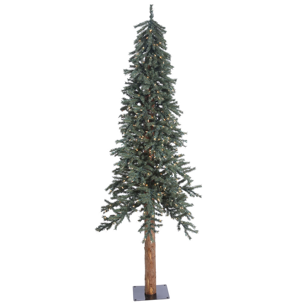 7 Foot Natural Bark Alpine Artificial Christmas Tree 300 DuraLit Incandescent Clear Mini Lights