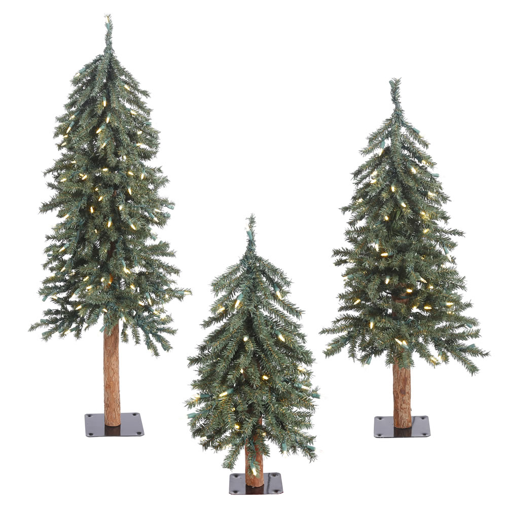 Natural Bark Alpine Artificial Christmas Tree - 185 DuraLit LED M5 Italian Warm White Mini Lights - Small Set of 3
