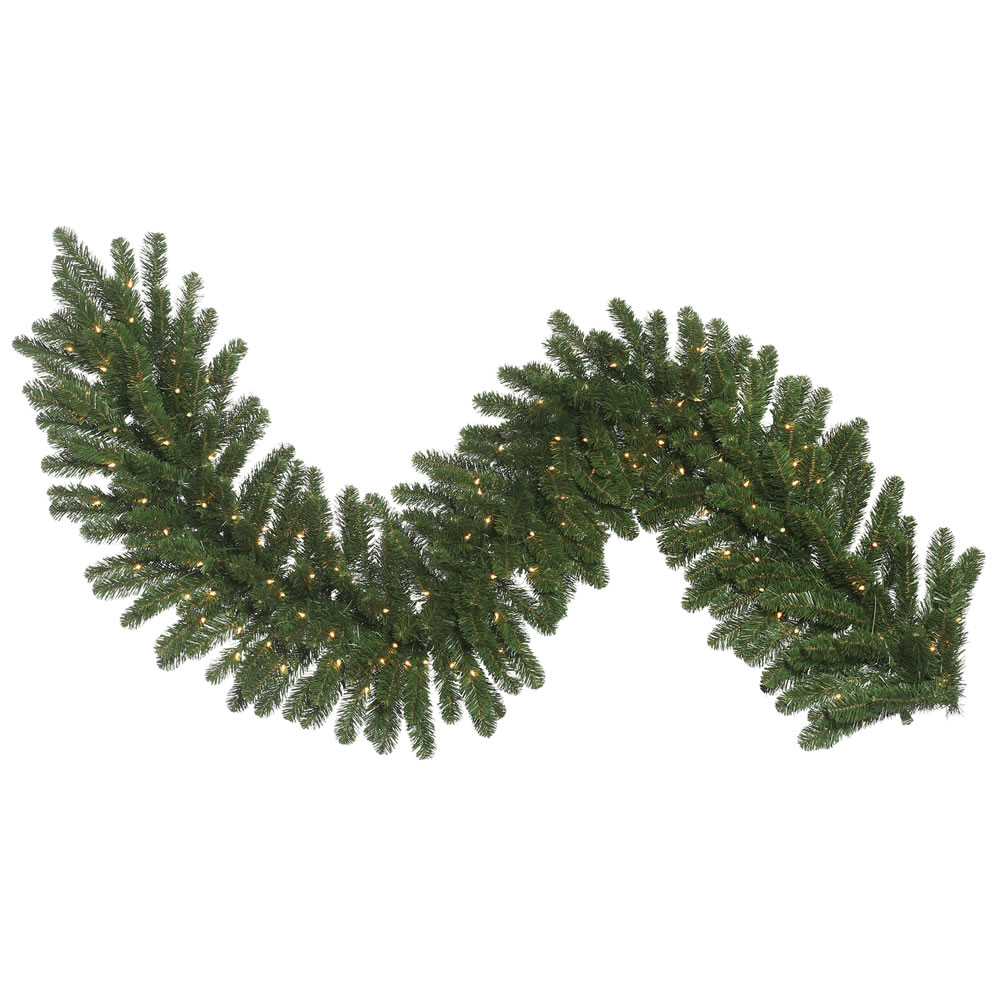 9 Foot Oregon Fir Medium Artificial Christmas Garland 150 DuraLit Incandescent Clear Mini Lights