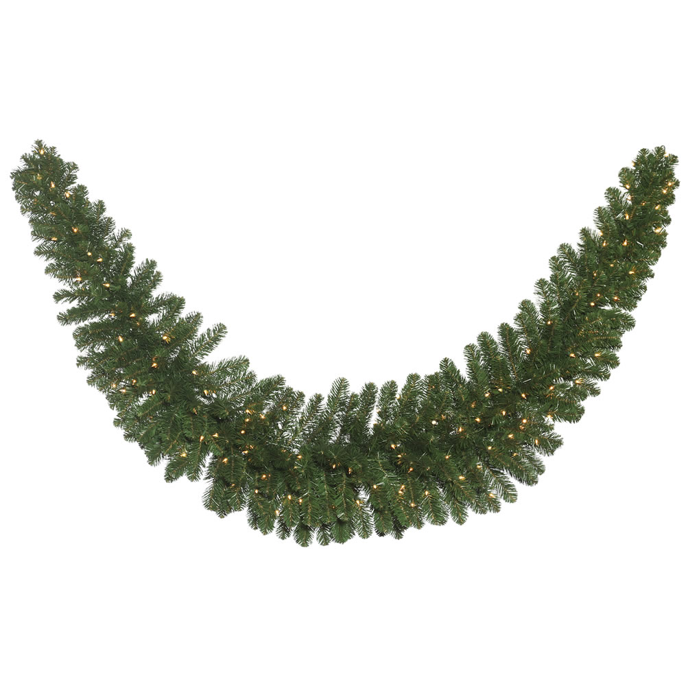 9 Foot Oregon Fir Artificial Christmas Swag Garland 150 DuraLit Incandescent Clear Mini Lights
