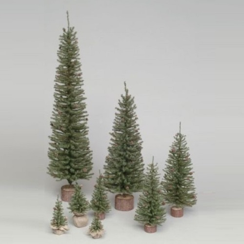 1 Foot Carmel Pine Artificial Christmas Village Tree Unlit Wood Base Set of 6
