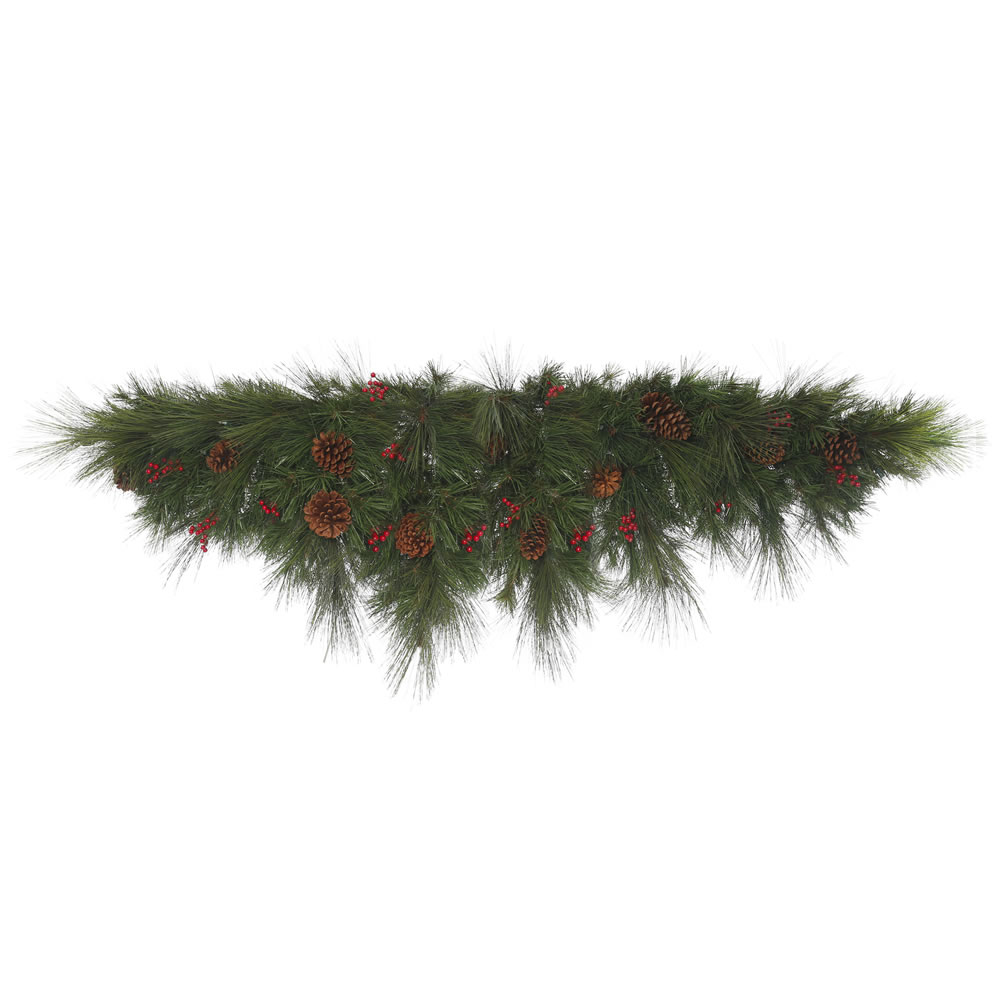 6 Foot Big Cascade Berry Artificial Christmas Mantle Garland Swag Unlit