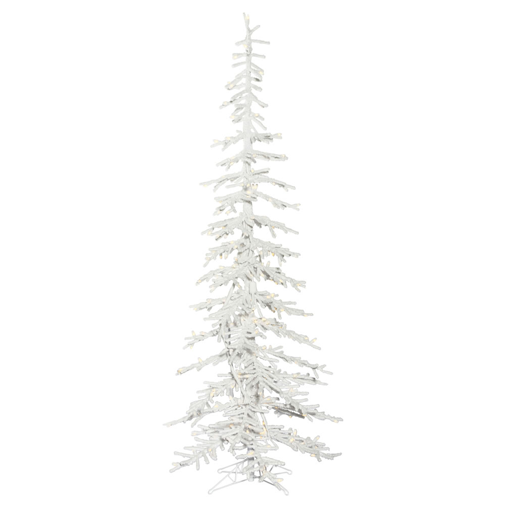 7.5 Foot Flocked Kuna Pine Artificial Christmas Tree 250 DuraLit Incandescent Clear Mini Lights
