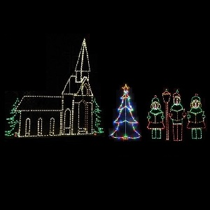church with carolers led lighted outdoor commercial christmas scene display