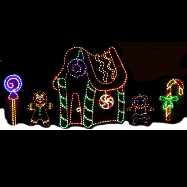 gingerbread house led lighted outdoor christmas scene - Gingerbread Outdoor Christmas Decorations