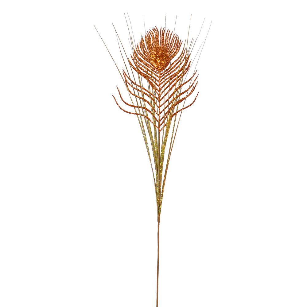 Copper Peacock Fern Onion Grass Decorative Artificial Christmas Spray Set of 24