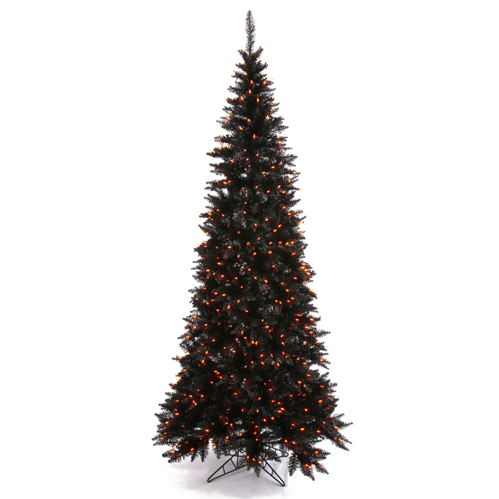 4.5 Foot Black Fir Slim Artificial Halloween Tree 200 DuraLit Incandescent Orange Mini Lights