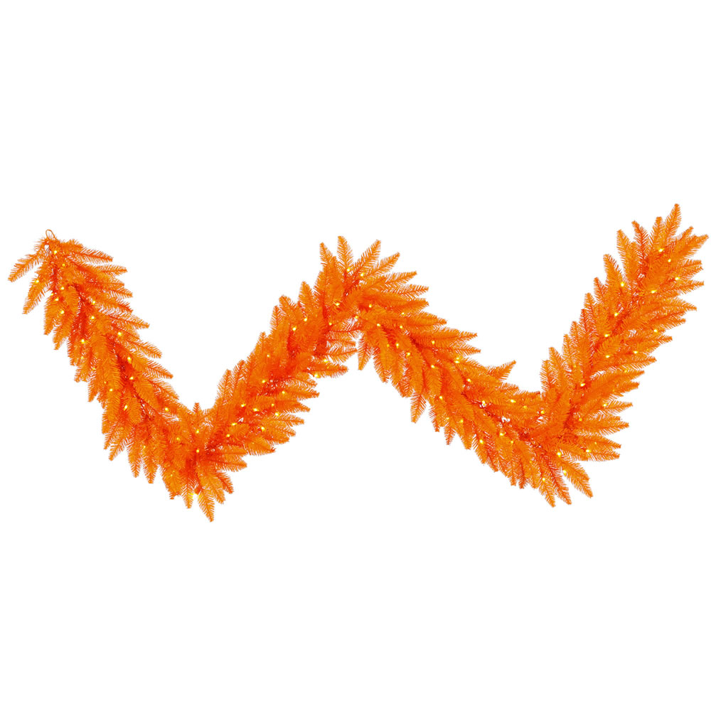 9 Foot Orange Fir Artificial Halloween Garland 100 DuraLit LED M5 Italian Orange Mini Lights
