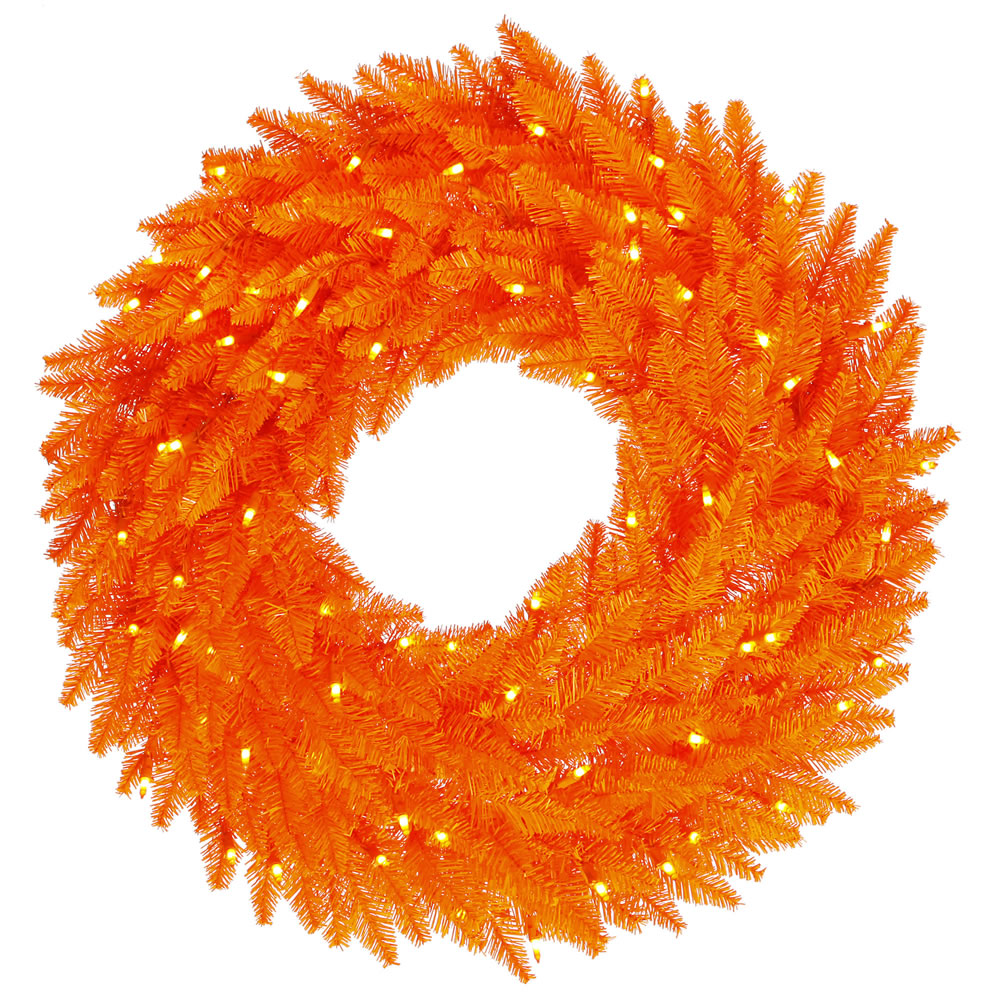 30 Inch Orange Fir Artificial Halloween Wreath 100 DuraLit Incandescent Orange Mini Lights