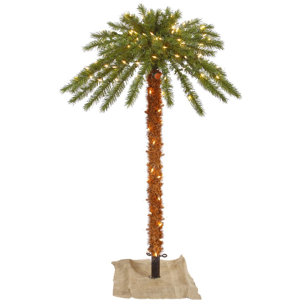 4 Foot Outdoor Artificial Palm Tree 140 DuraLit Incandescent Clear Mini Lights