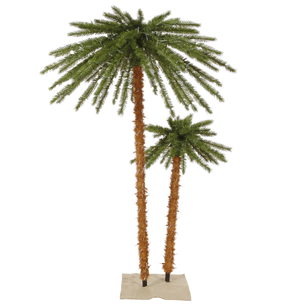 Double Outdoor Artificial Palm Tree 400 DuraLit Incandescent Clear Mini Lights