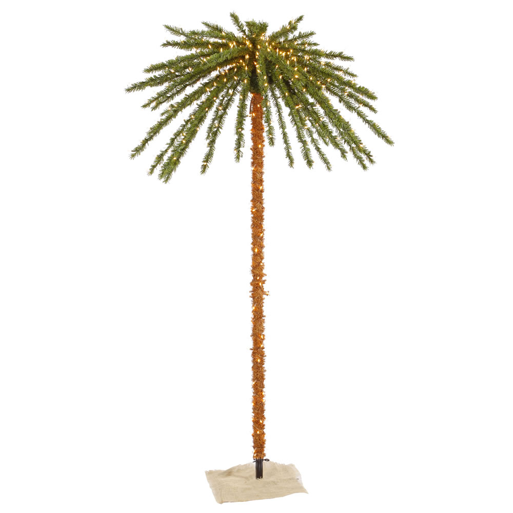 7 Foot Outdoor Artificial Palm Tree 500 DuraLit Incandescent Clear Mini Lights