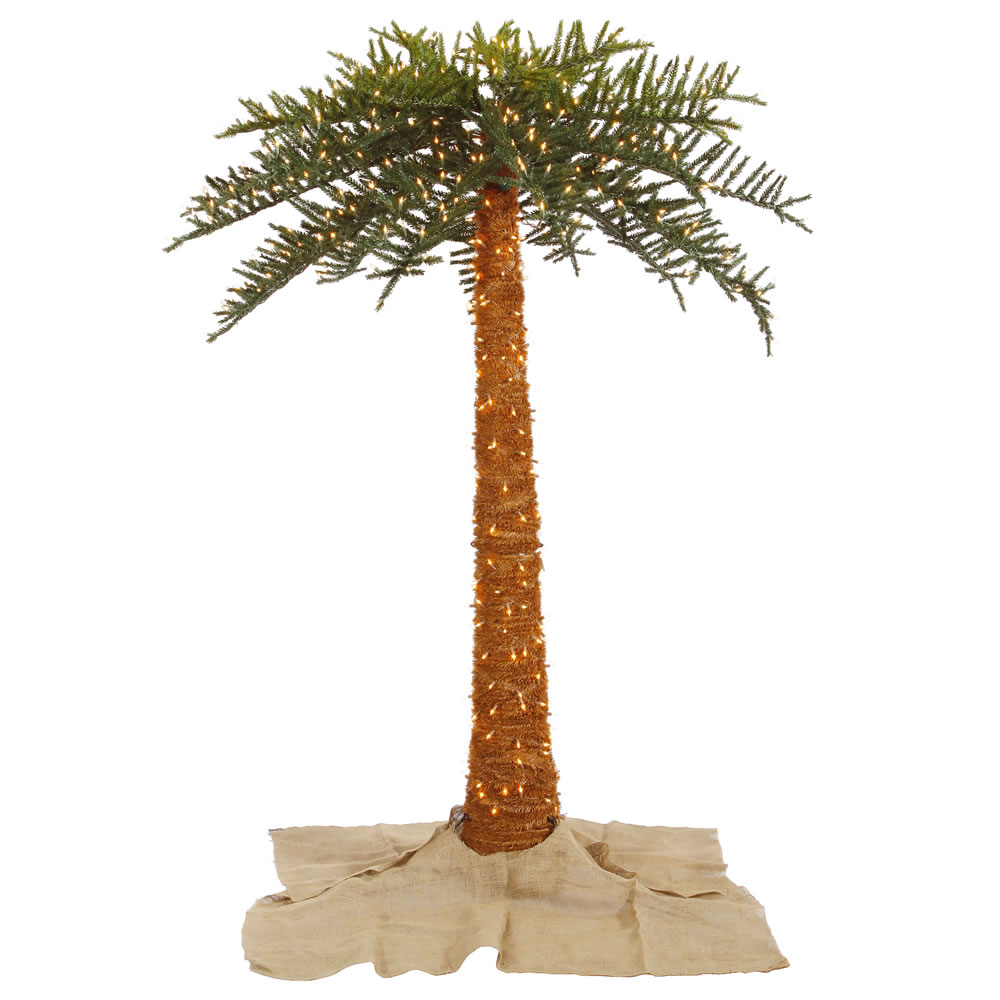 8 Foot Royal Artificial Outdoor Palm Tree 650 DuraLit Incandescent Clear Mini Lights