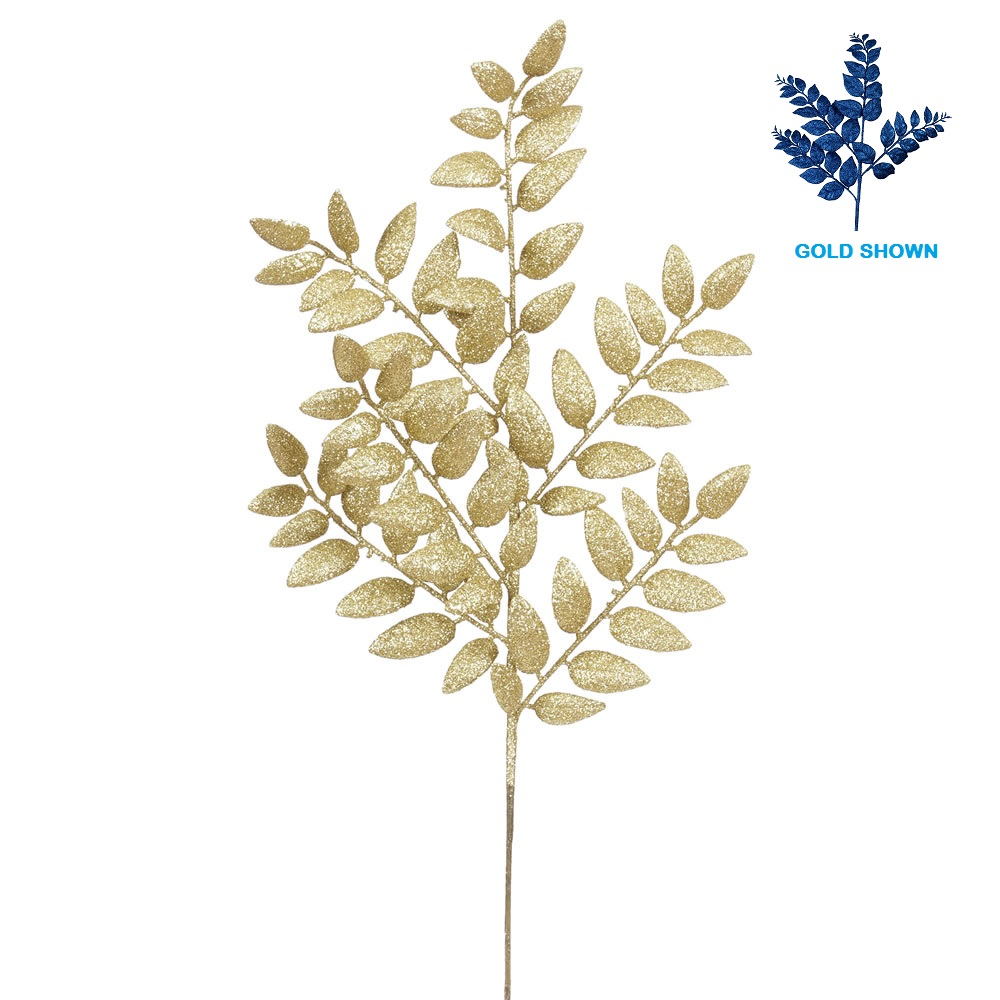Blue Glitter Honey Locust Leaf Decorative Artificial Christmas Spray Set of 6