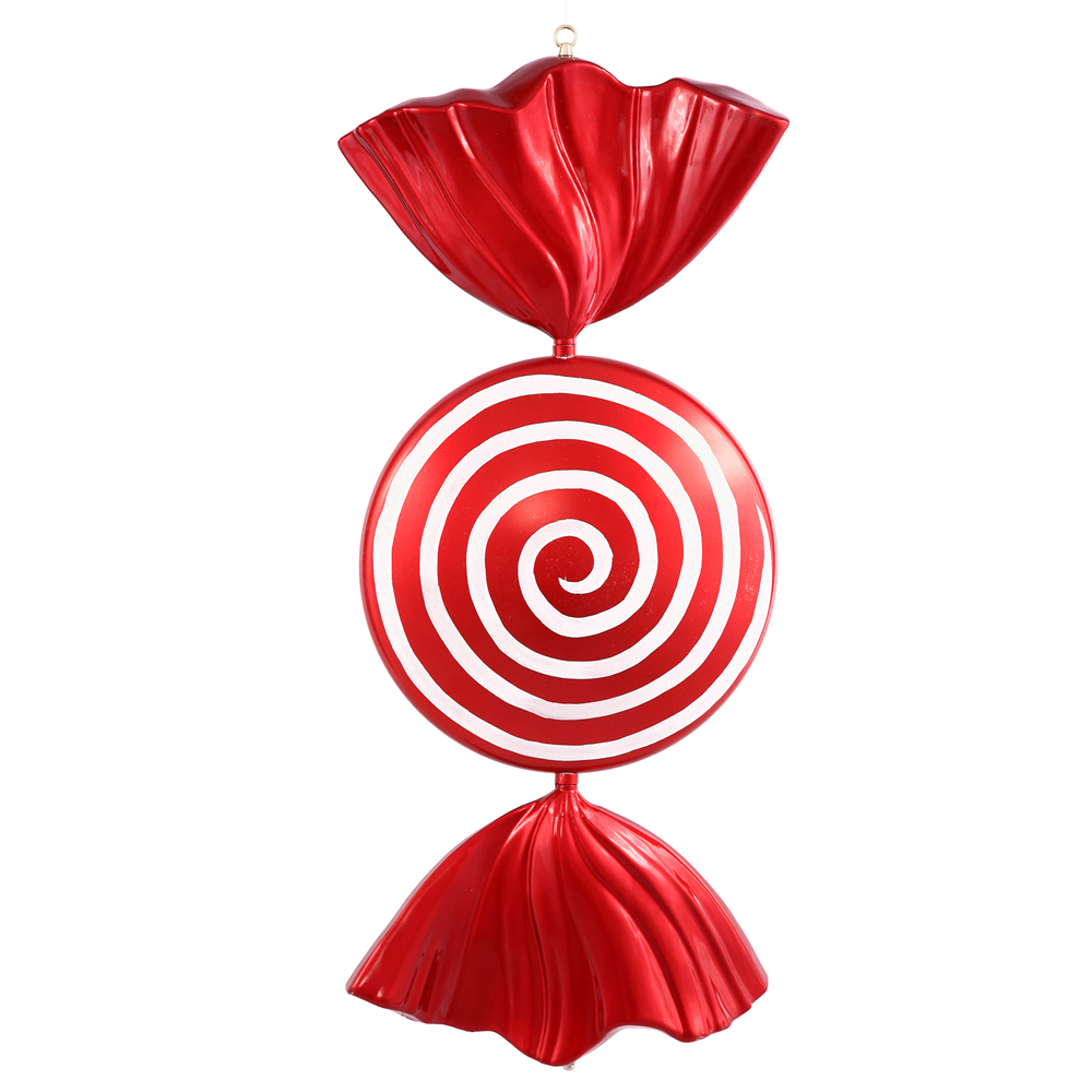 37 Inch Red And White Peppermint Spiral Shiny Candy Decoration