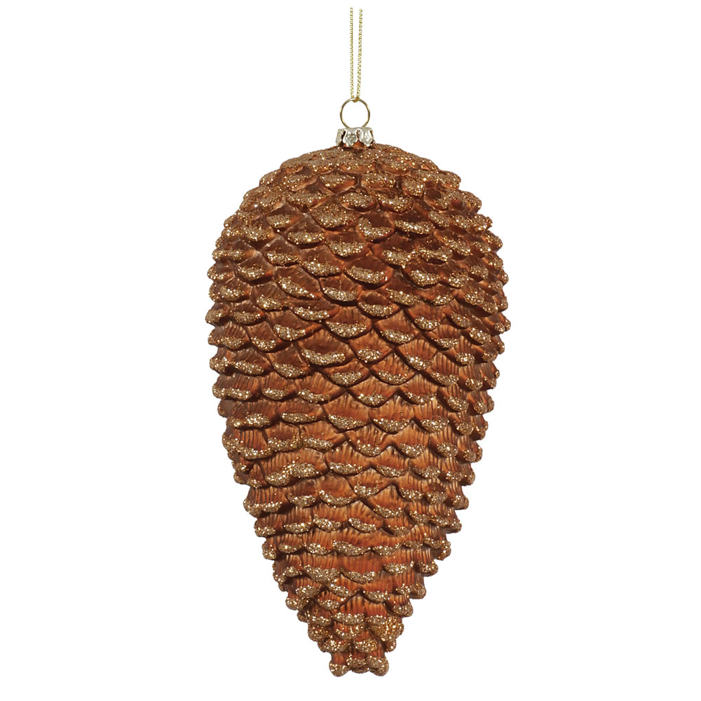 7 Inch Copper Matte Glitter Pine Cone Christmas Ornament