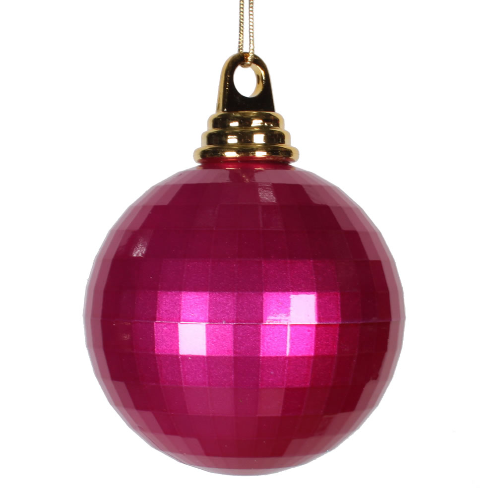 4 Inch Cerise Pink Candy Finish Mirror Round Christmas Ball Ornament