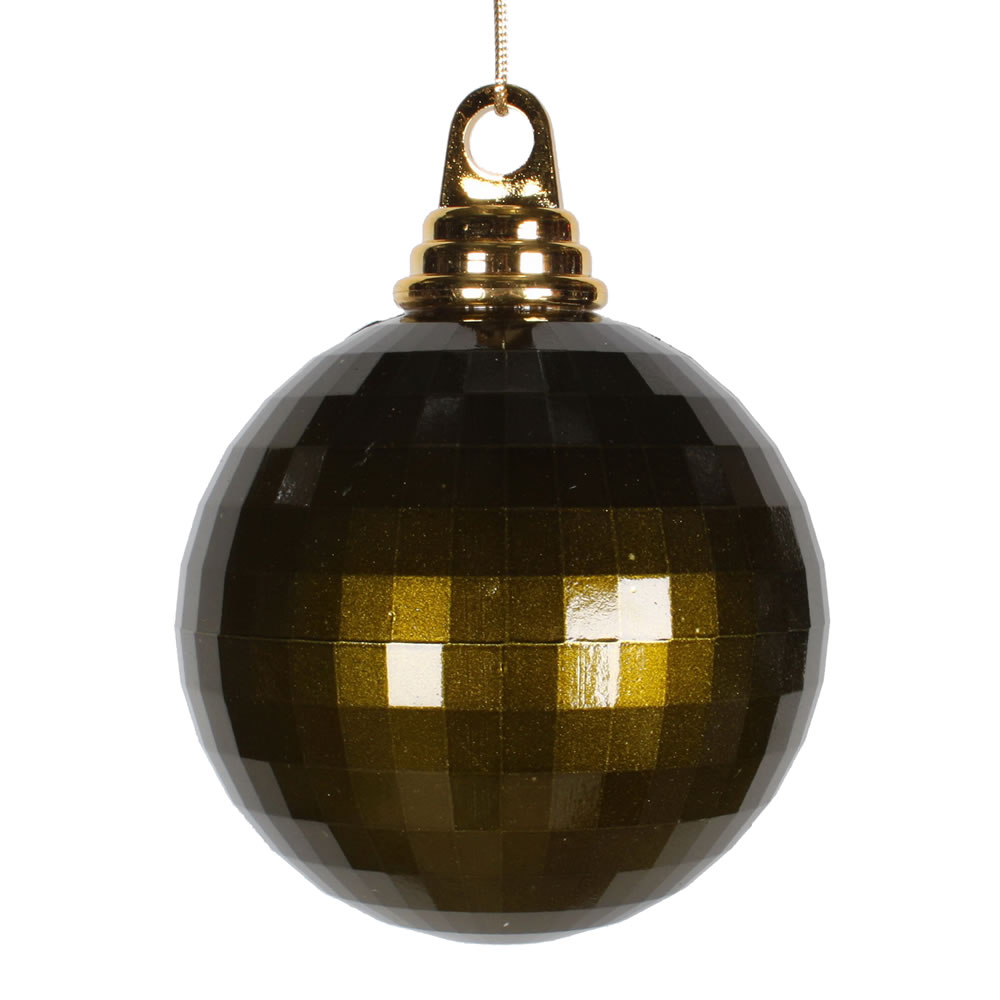 4 Inch Olive Green Candy Finish Mirror Round Christmas Ball Ornament