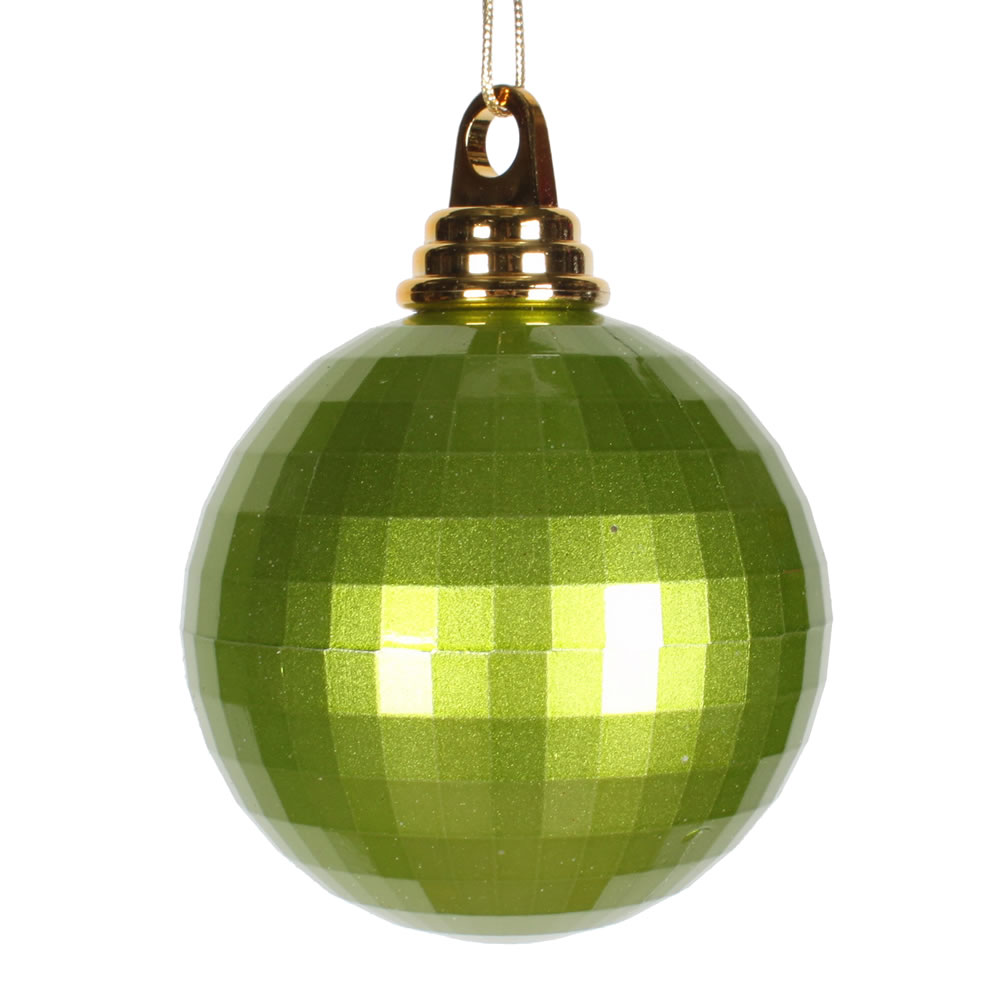 4 Inch Lime Green Candy Finish Mirror Round Christmas Ball Ornament