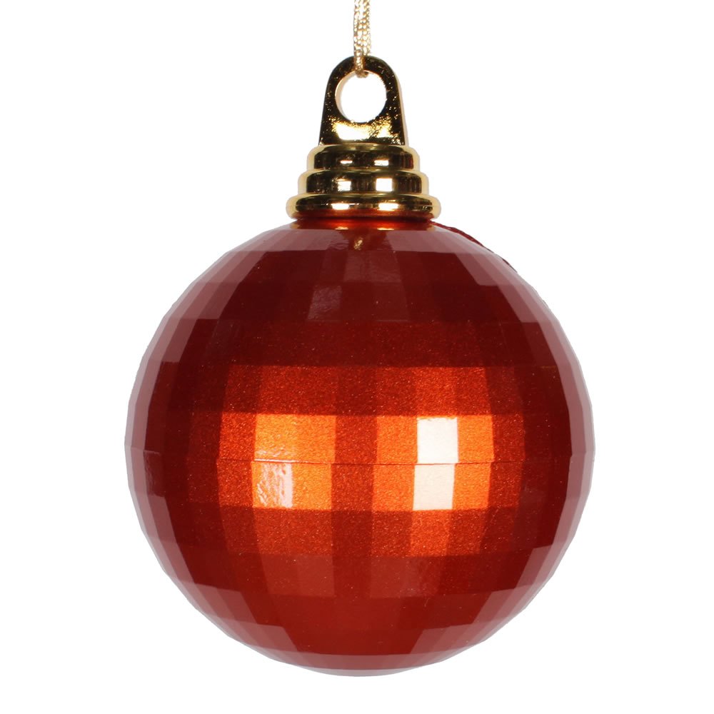 4 Inch Burnish Orange Candy Finish Mirror Round Christmas Ball Ornament
