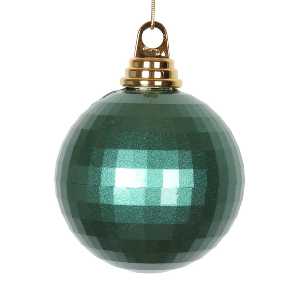 4 Inch Emerald Green Candy Finish Mirror Round Christmas Ball Ornament