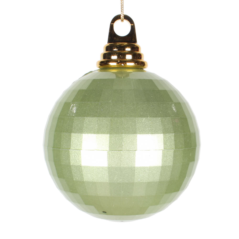 4 Inch Celadon Green Candy Finish Mirror Round Christmas Ball Ornament