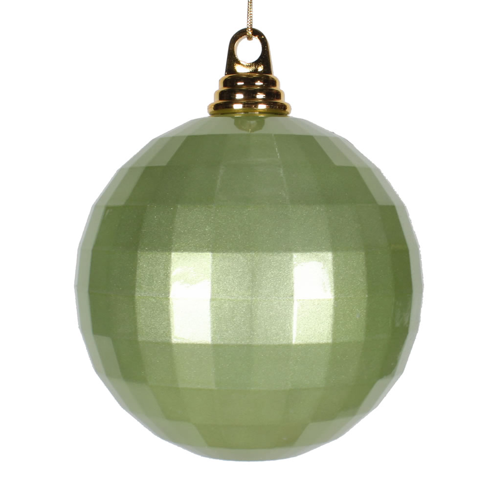 5.5 Inch Celadon Green Candy Finish Mirror Round Christmas Ball Ornament
