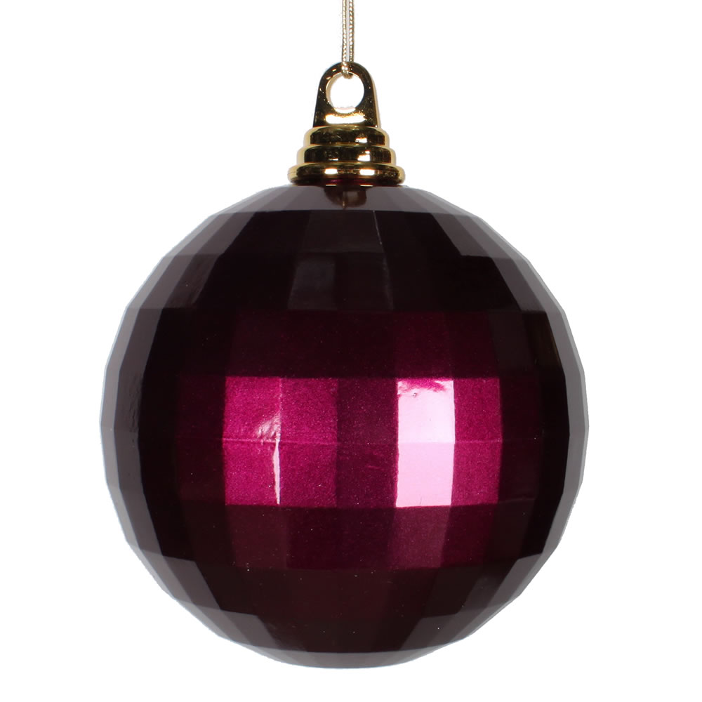 5.5 Inch Eggplant Purple Candy Finish Mirror Round Christmas Ball Ornament
