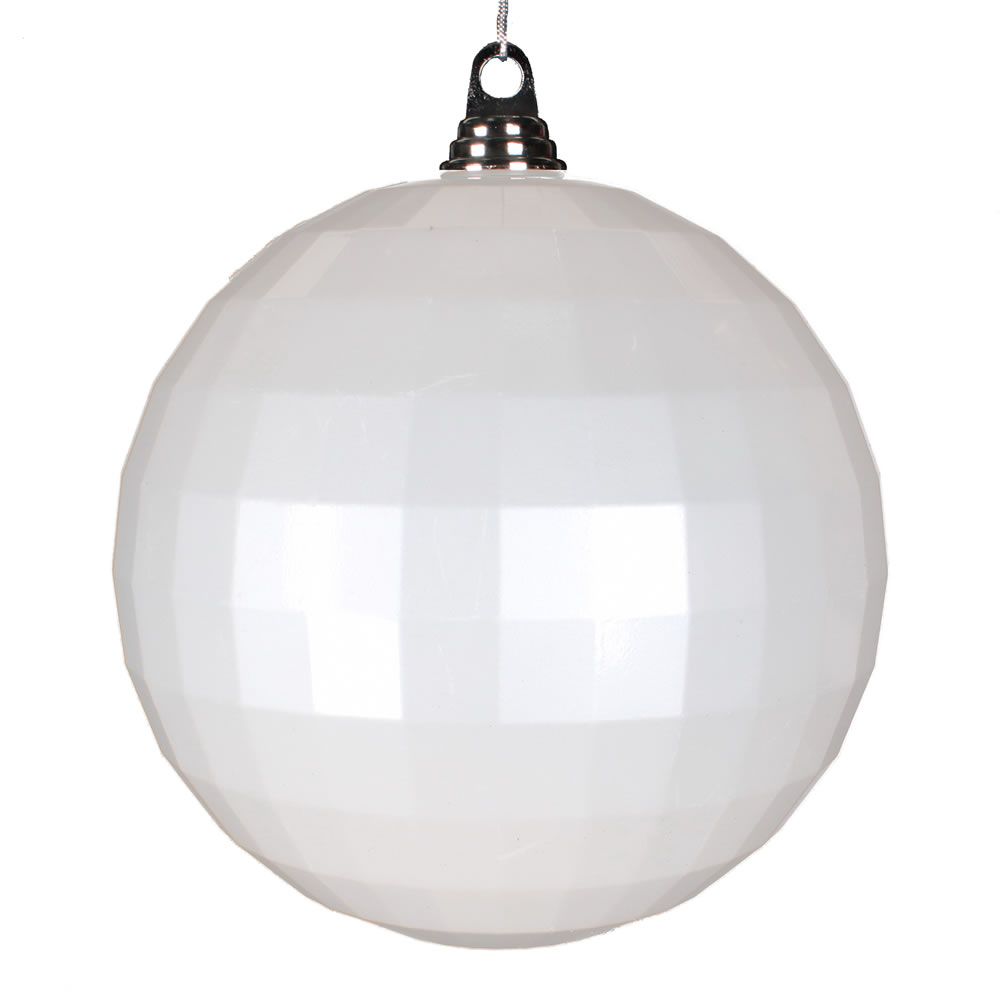 8 Inch White Candy Finish Mirror Round Christmas Ball Ornament