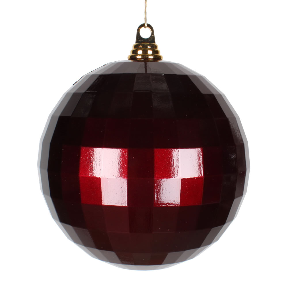 8 Inch Burgundy Candy Finish Mirror Round Christmas Ball Ornament