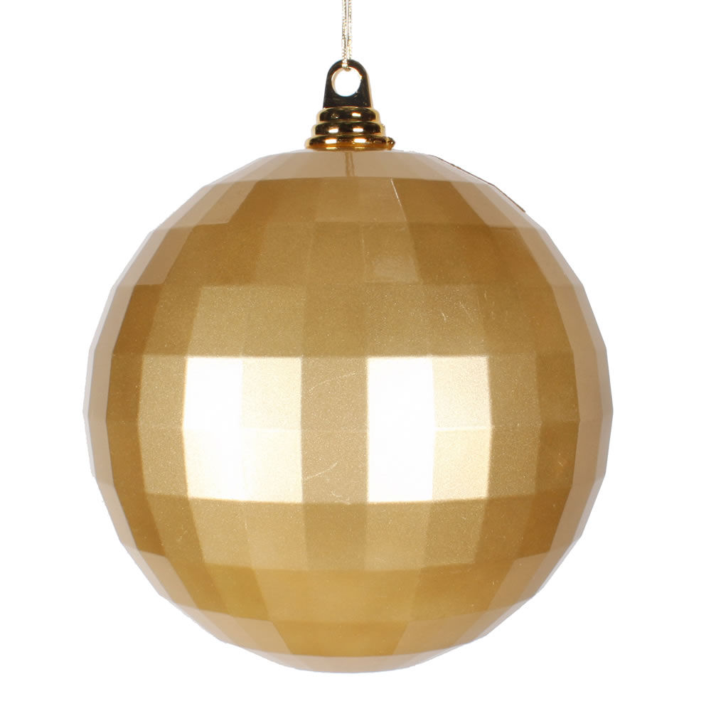 8 Inch Gold Candy Finish Mirror Round Christmas Ball Ornament