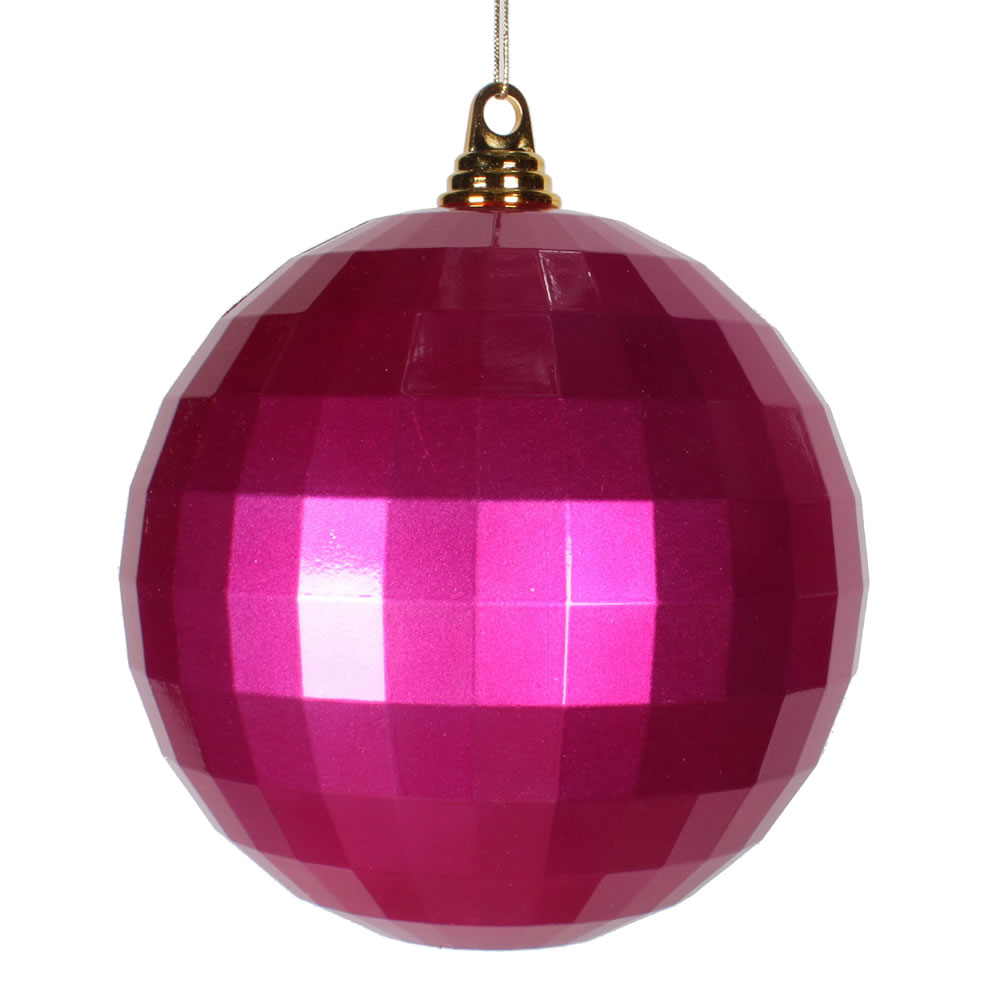 8 Inch Cerise Pink Candy Finish Mirror Round Christmas Ball Ornament