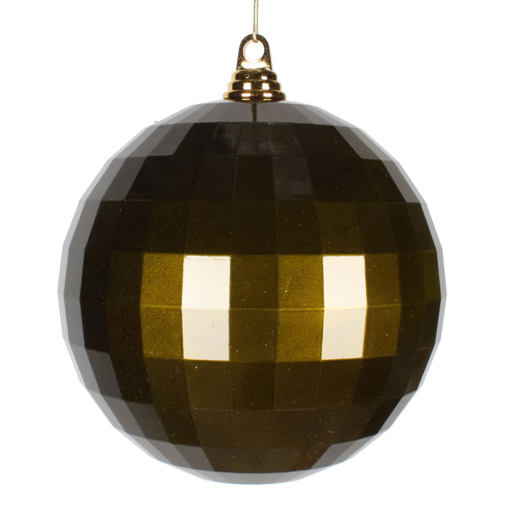 8 Inch Olive Green Candy Finish Mirror Round Christmas Ball Ornament