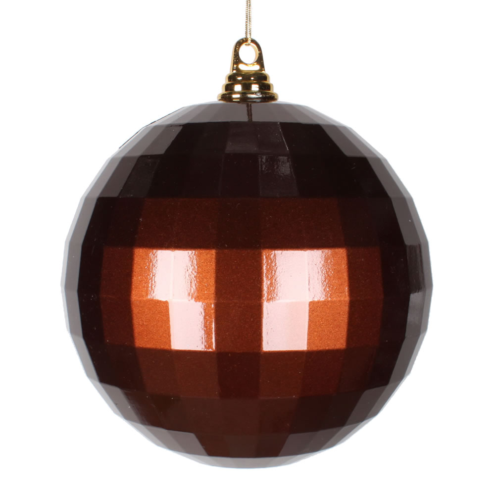 8 Inch Chocolate Brown Candy Finish Mirror Round Christmas Ball Ornament