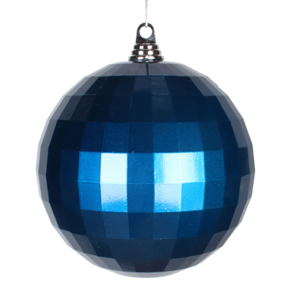 8 Inch Sea Blue Candy Finish Mirror Round Christmas Ball Ornament