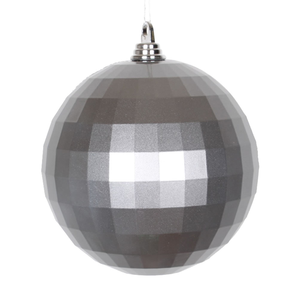 8 Inch Pewter Silver Candy Finish Mirror Round Christmas Ball Ornament