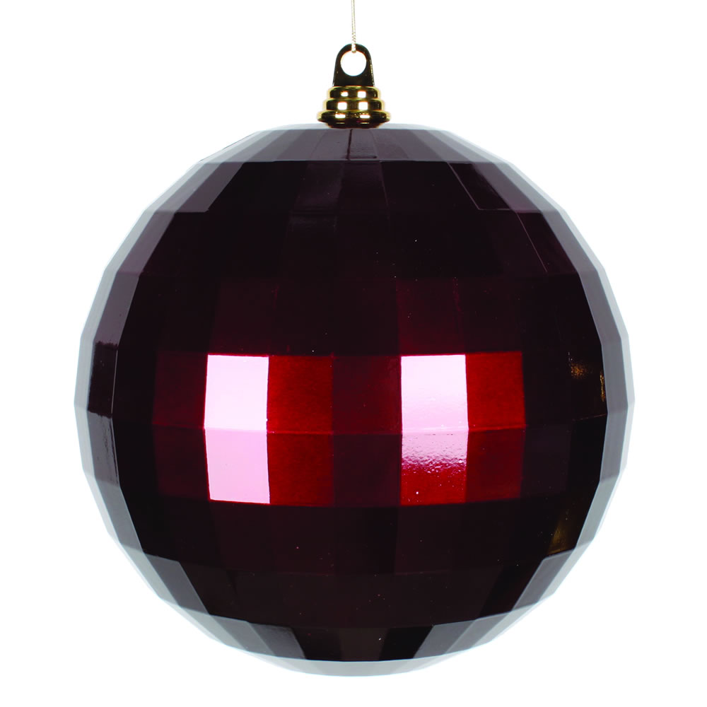 10 Inch Burgundy Candy Mirror Christmas Ball Ornament