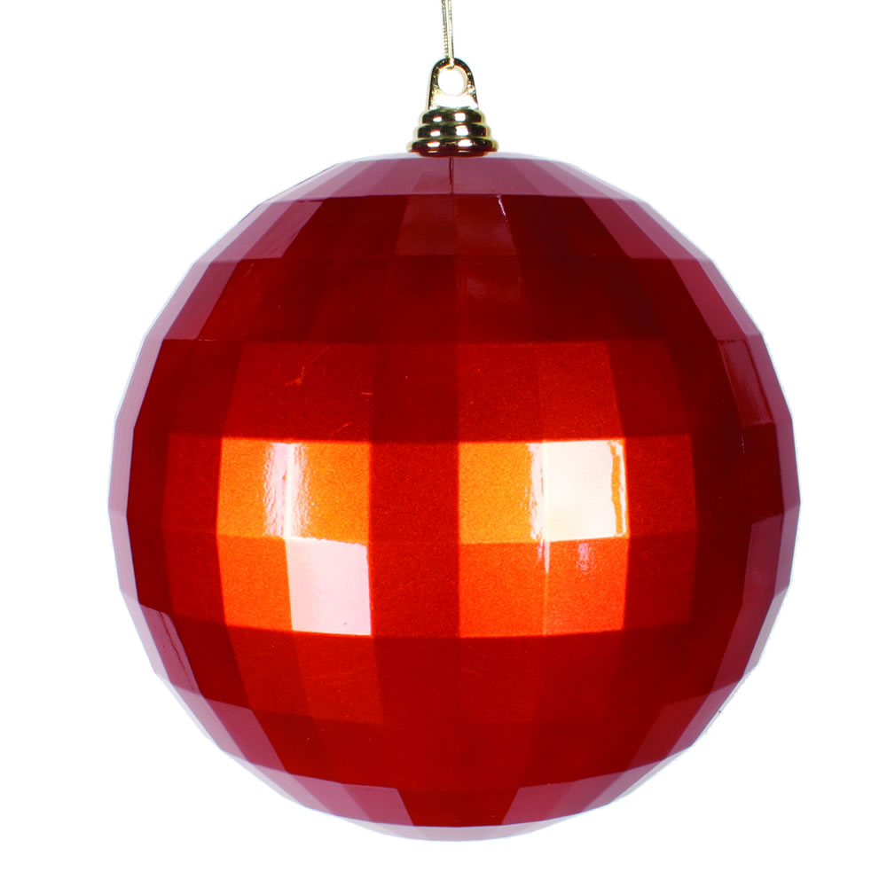 10 Inch Burnish Orange Candy Mirror Christmas Ball Ornament