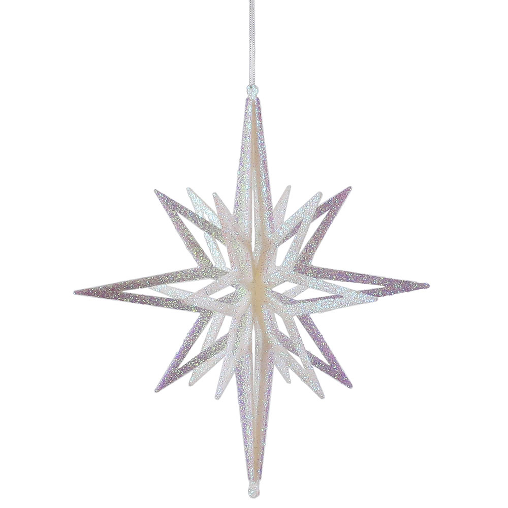 12 Inch 3D White Iridescent Glow Glitter Star Christmas Ornament