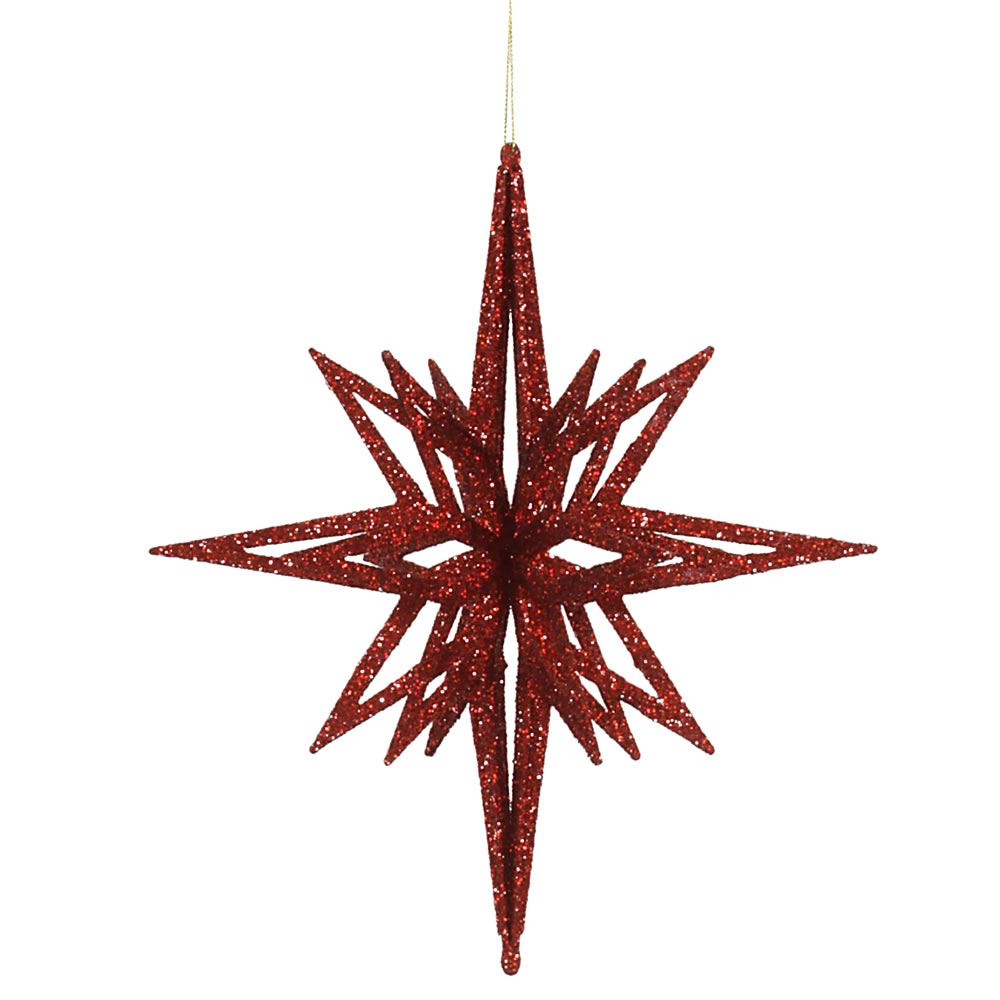 12 Inch 3D Red Iridescent Glow Glitter Star Christmas Ornament
