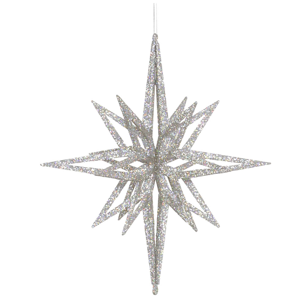 12 Inch 3D Silver Iridescent Glow Glitter Star Christmas Ornament