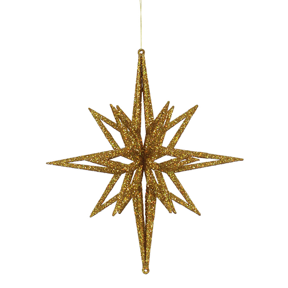 12 Inch 3D Gold Iridescent Glow Glitter Star Christmas Ornament