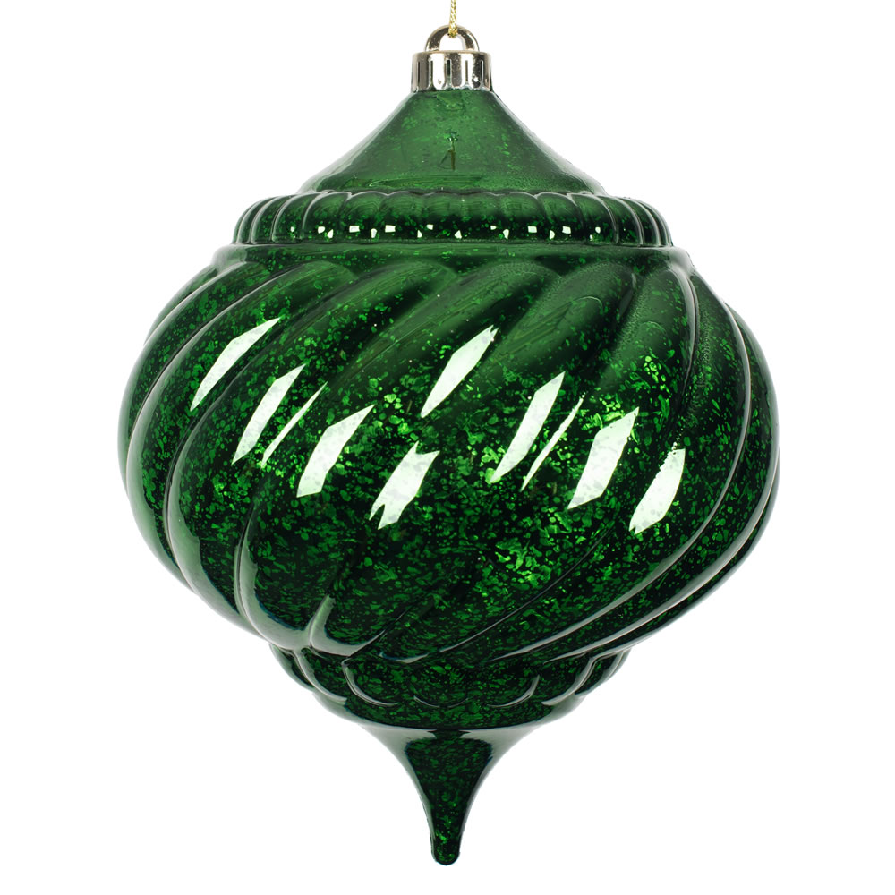 8 Inch Emerald Green Shiny Mercury Christmas Onion Spiral Ornament Shatterproof