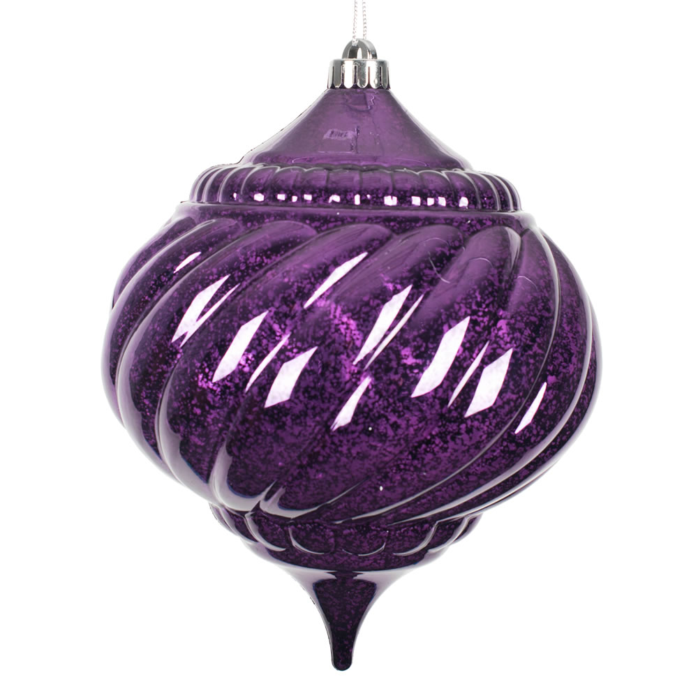 8 Inch Plum Purple Shiny Mercury Christmas Onion Spiral Ornament Shatterproof