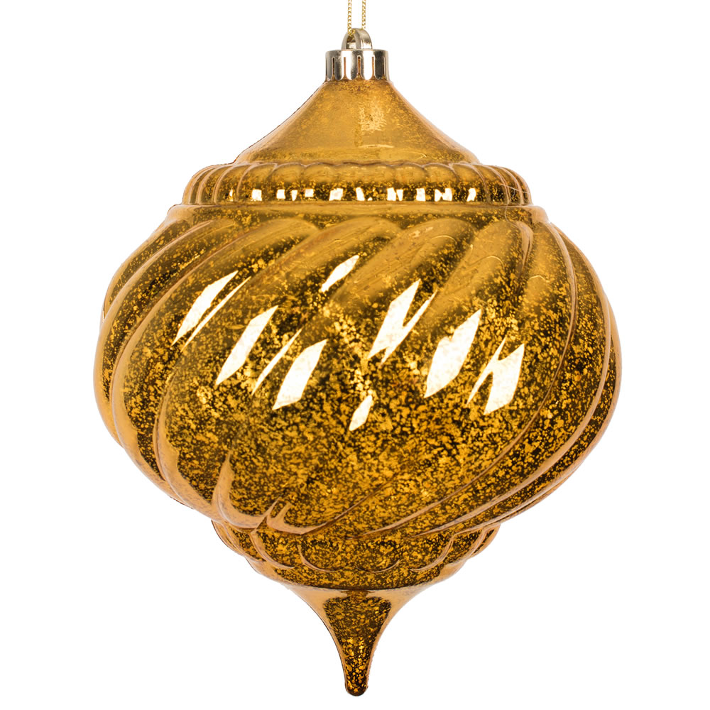 8 Inch Antique Gold Shiny Mercury Christmas Onion Spiral Ornament Shatterproof