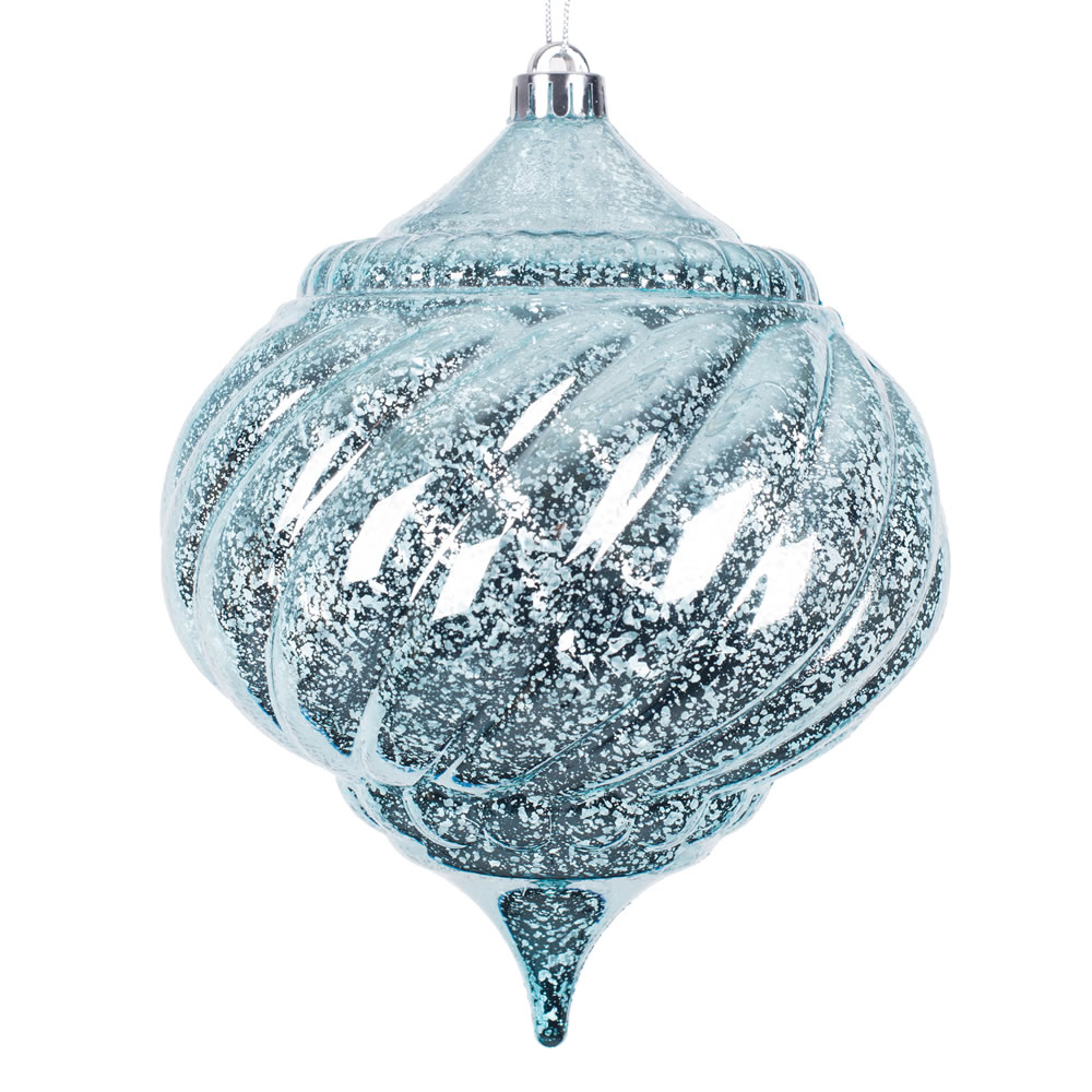 8 Inch Baby Blue Shiny Mercury Christmas Onion Spiral Ornament Shatterproof