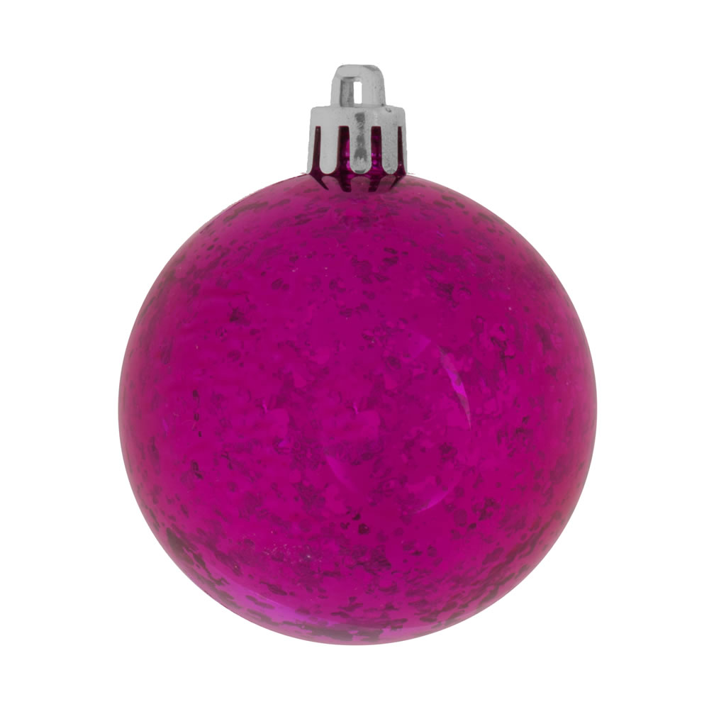 6 Inch Magenta Shiny Mercury Christmas Ball Ornament Shatterproof Set of 4