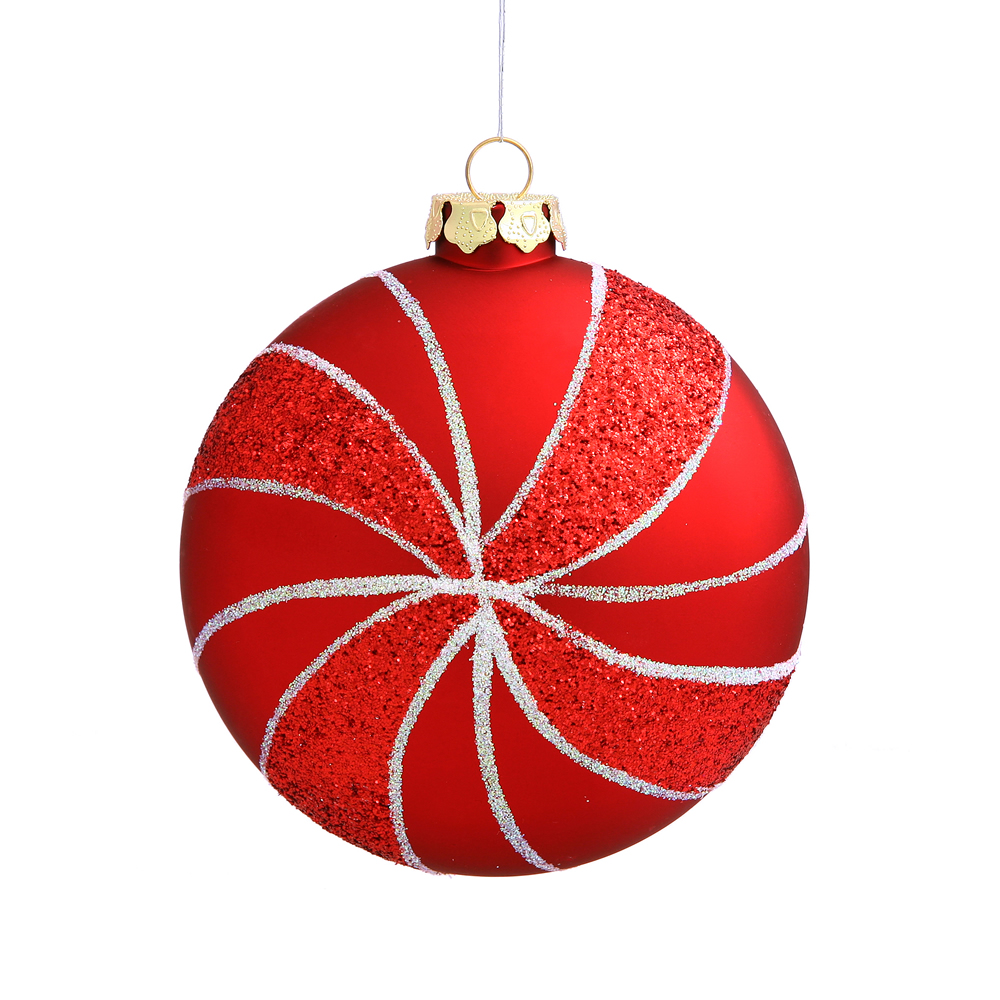 3.75 Inch Red Matte Peppermint Candy Round Christmas Ornament